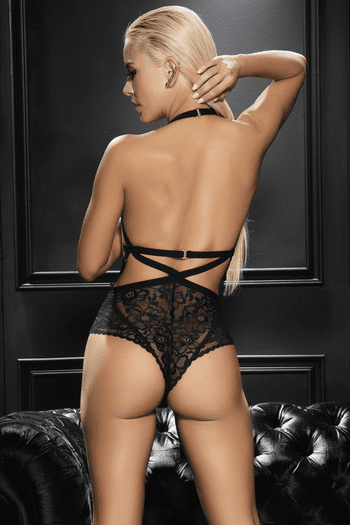 Black Lace Cupless Cutout Teddy