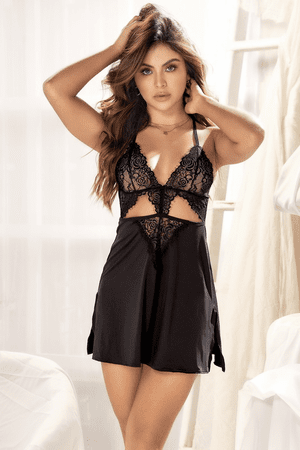 Black Lace Cutout Babydoll