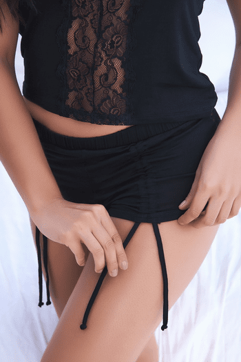 Black Lace Cutout Pajama Shirt & Short Set