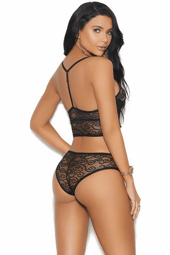 Black Lace Demi Cup Bra Set