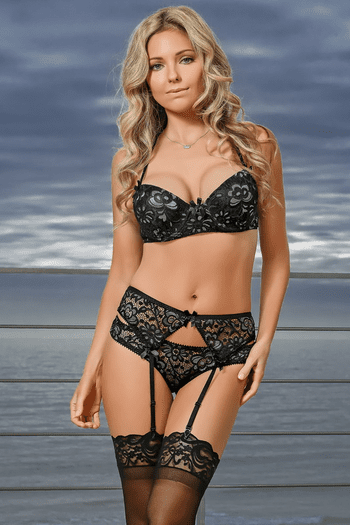 Black Lace Gartered Bra Set