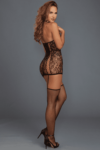 Black Gartered Lace Chemise Bodystocking
