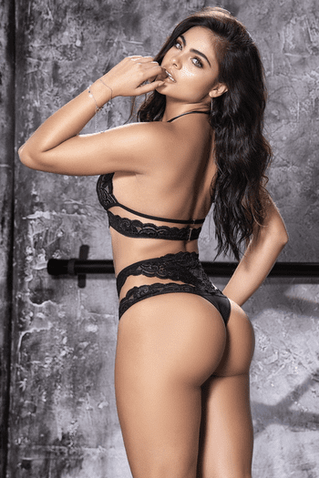 Black Lace Halter Bra & Cut Out Panty Set