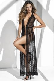 Black Lace Halter Neck Robe