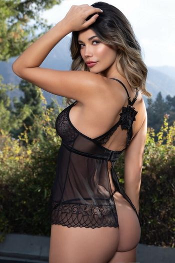 Black Lace & Mesh Cami Set