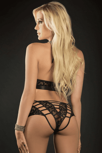 Black Lace O-Ring Boyshort & Halter Top Set