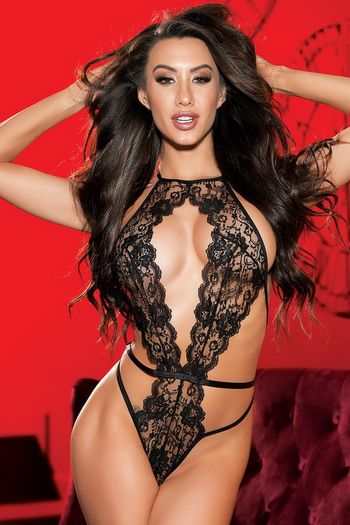 Black Lace Open Front Teddy
