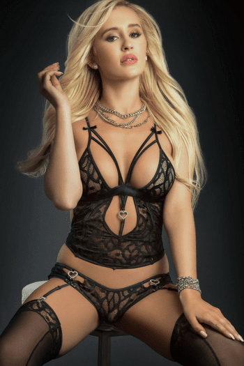 Black Lace Plunging Cami Top, Garter Panty & Stocking Set