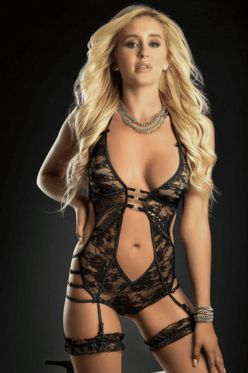 Black Lace Plunging Strappy Teddy