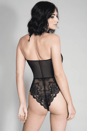 Black Lace Scalloped Trim Thong Back Teddy