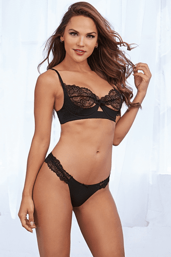 Black Lace Shelf Bra & G-String Set