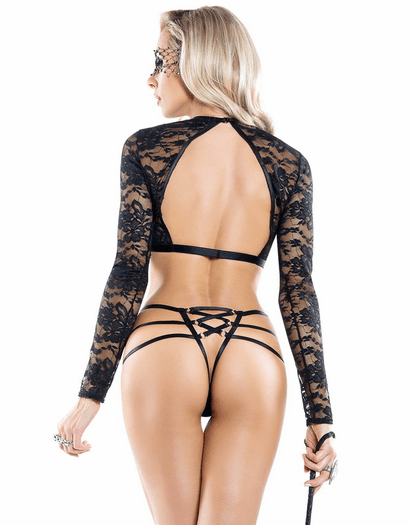 Black Lace Strap Me Down Bra & Thong Set