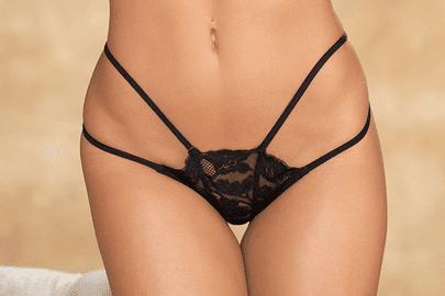 Black Lace & Strappy Elastic Thong Panty