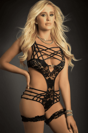 Black Lace Strappy Gartered Cage Teddy