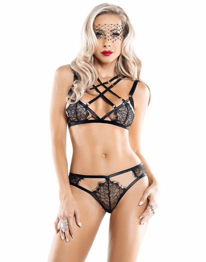 Black Lace Strappy Perversion Bra & Panty Set