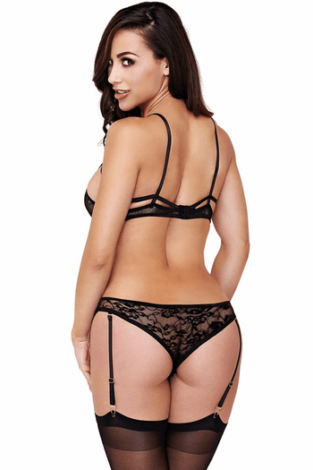 Black Lace Strappy Teddy