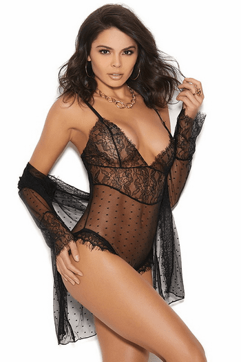 Black Lace Teddy & Robe Set