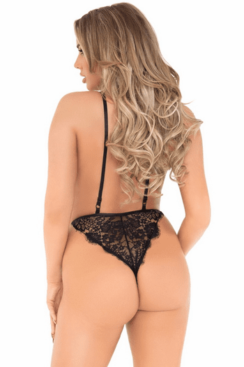 Black Floral Lace Teddy & Robe Set