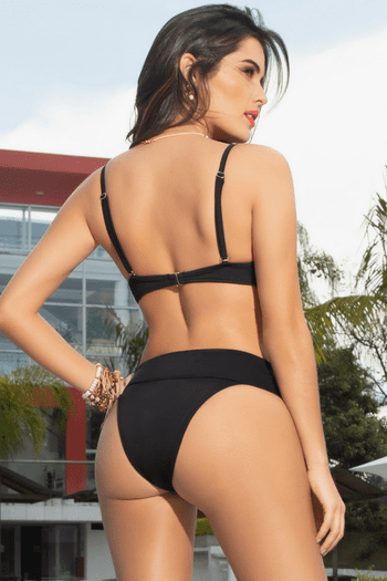 Black Lace-Up Bikini Bottom