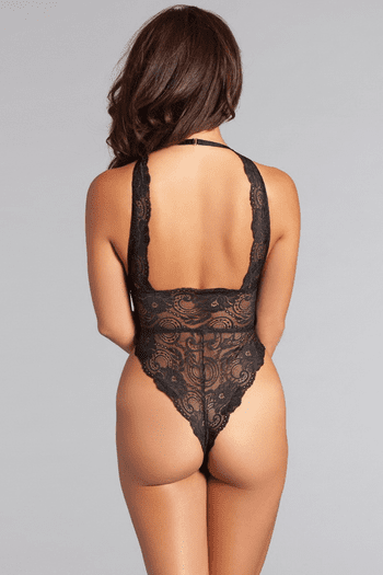 Black Lace Up Halter Teddy