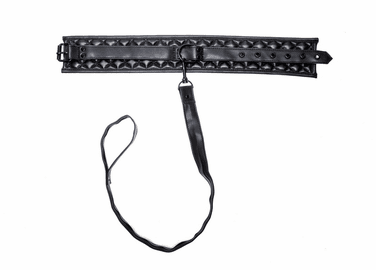 Black Leather BDSM Collar & Leash Set