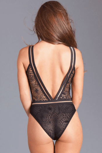 Black Lined Lace Plunging Teddy