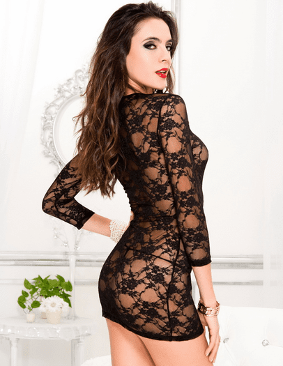Black Long Sleeve Luxury Chemise & Thong Set