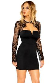 Black Long Sleeved Eyelash Lace Dress