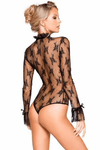 Black Long Sleeved Keyhole Teddy