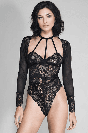 Black Long Sleeved Mesh & Lace Cage Strap Teddy