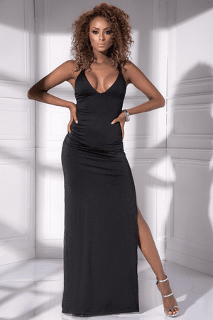 Black Low Back Long Gown