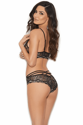 Black Lurex Lace Cami Set