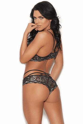 Black Lurex Lace Teddy