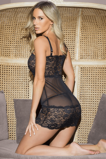Black Mesh & Stretch Lace Chemise