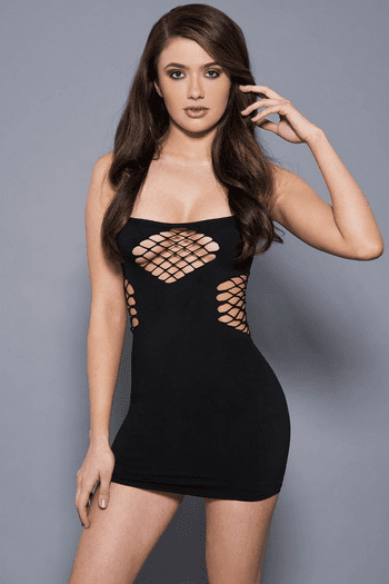 Black Net Cutouts Mini Dress