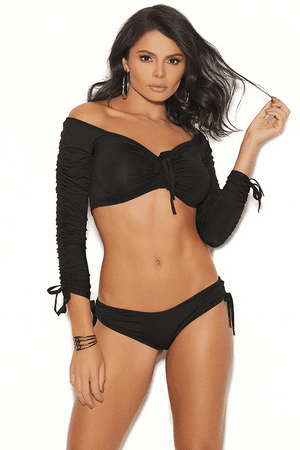 Black Off The Shoulder Cami Set