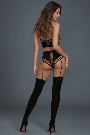 Black Opaque Seamless Bralette & High-Waisted Gartered Panty