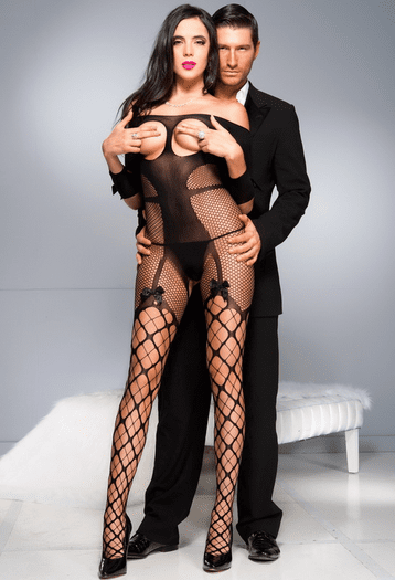 Black Open Bust Beauty Crotchless Bodystocking