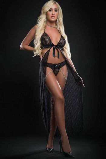 Black Pearls & Lace Fly Away Night Gown