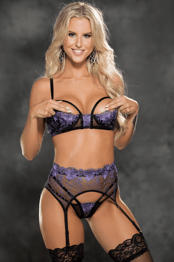 Black & Purple Stunning Embroidered Bra Set