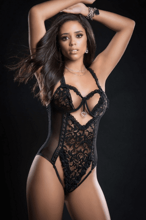 Black Queen Of Hearts Lace Open Cup Teddy