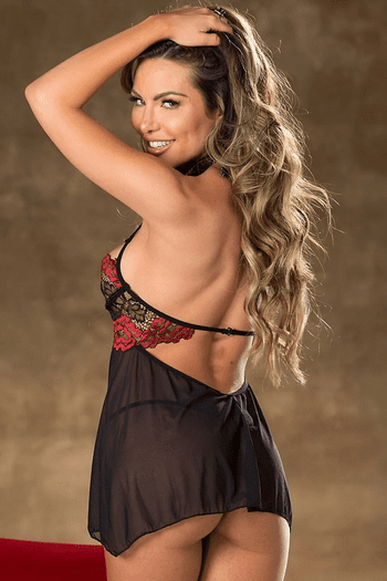 Black & Red Burning Love Lace Shelf Cup Babydoll