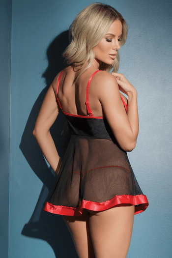 Black & Red Cupless Babydoll