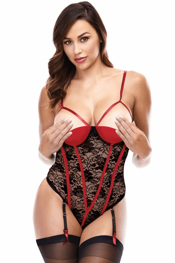 Black & Red Cupless Lace Teddy