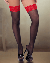 Black & Red Lace Top Stockings