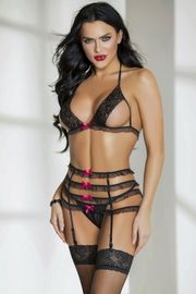 Black Ruffled Bra & Garterbelt Set