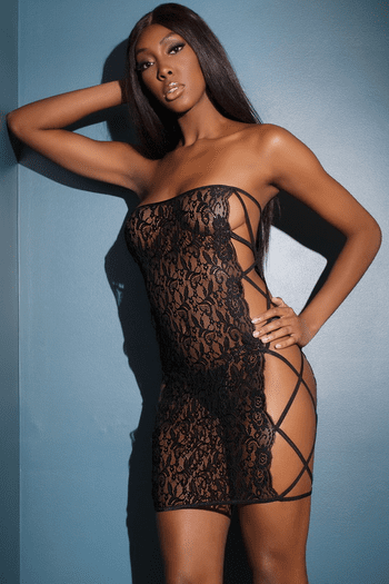 Black Scallop Stretch Lace Chemise
