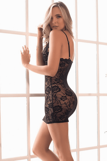 Black Scalloped Lace Chemise