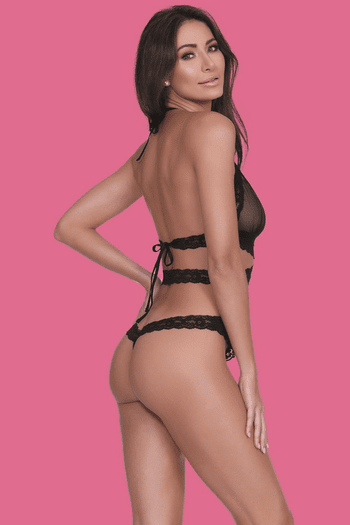 Black Scalloped Lace Teddy