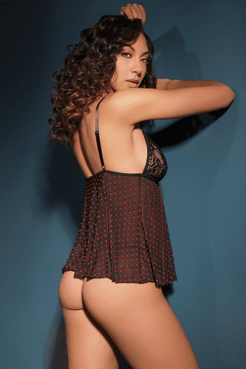 Black Scalloped Stretch Lace & Mesh Babydoll